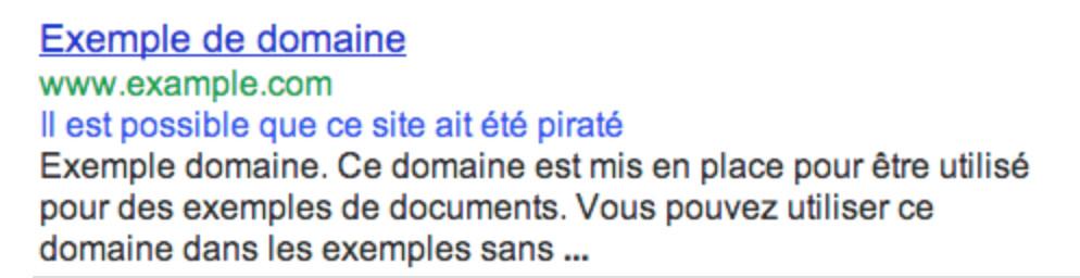 Alerte Google site piraté